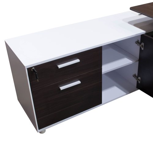 Denmark Lifting Manager Desk Walnut and White Close up on credenza with left cupboard open