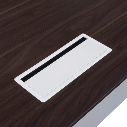 Denmark Lifting Manager Desk Walnut and White Close up on silver metal grommet