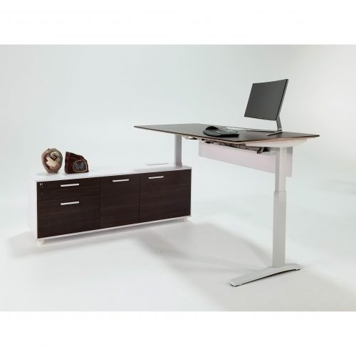 Denmark Lifting Manager Walnut and White Standing with laptop on desk