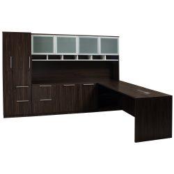 Denmark Executive L Shape Left Return Desk Set American Walnu