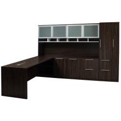 Denmark Executive L Shape Right Return Desk Set American Walnut