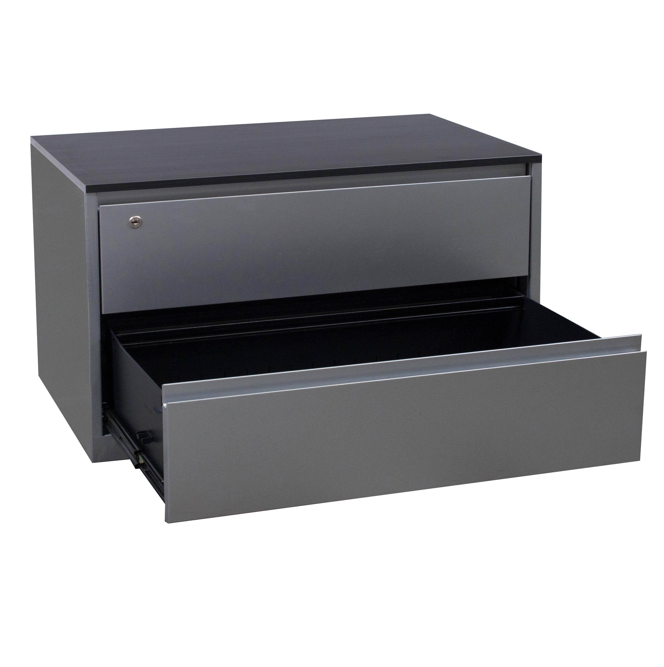 steelcase 900 series used 2 drawer lateral file with gray laminate top  silver