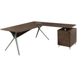 Louis Right Return Veneer L Shape Desk Walnut