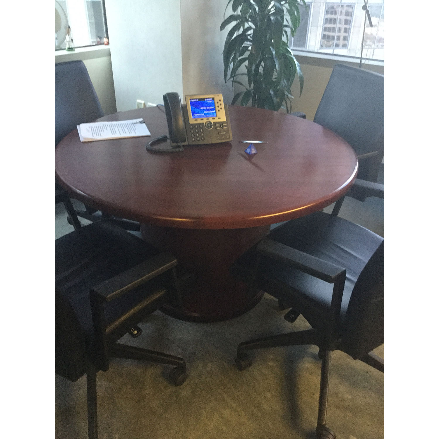 Steelcase Used 52 Inch Round Conference Table Mahogany