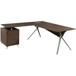 Louis Left Return Walnut Veneer L Shape Desk