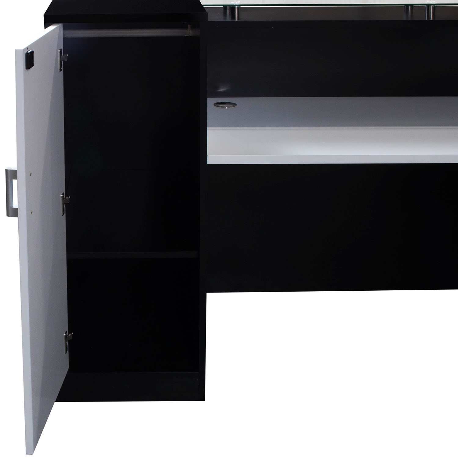 Morgan 7 215 7 Glass Top Reception Desk By Gosit Black And