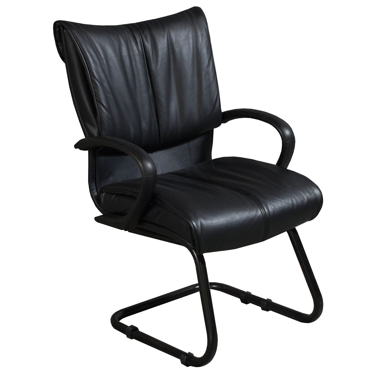 Used Reception Leather Sled Base Side Chair, Black ...