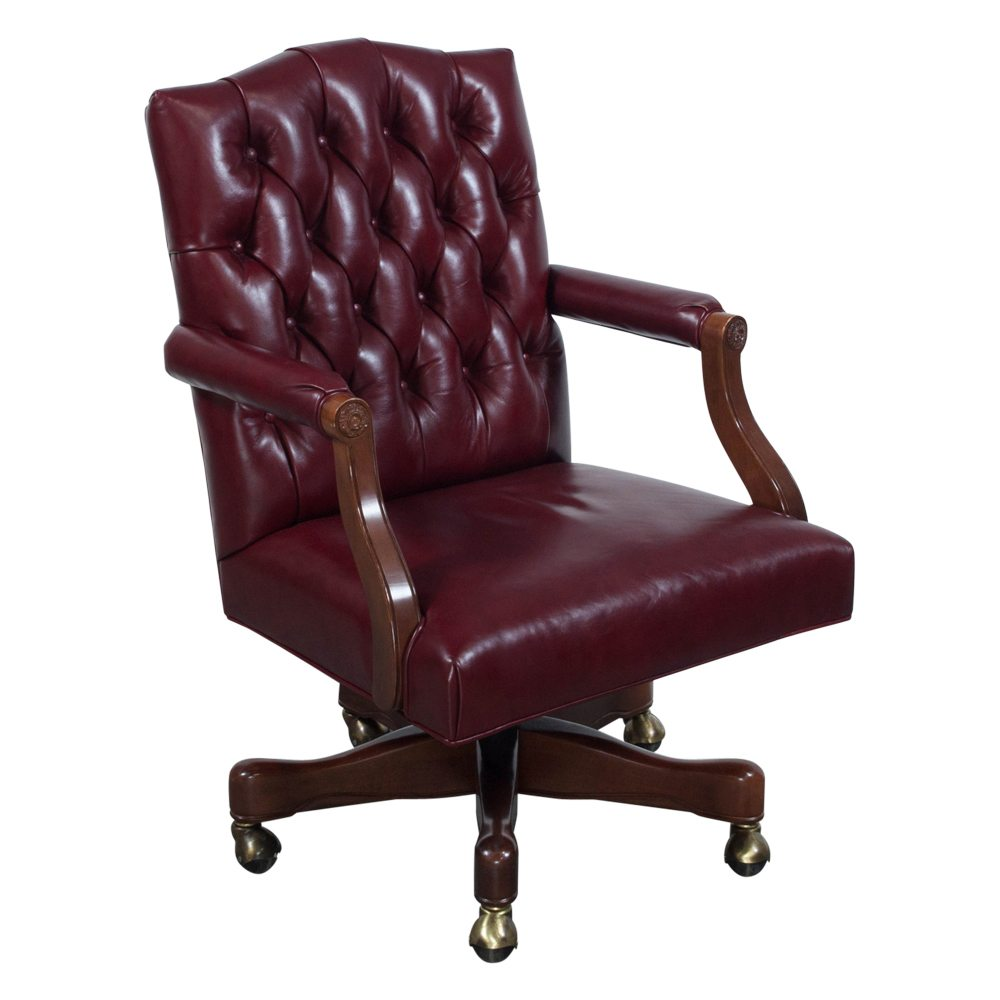 councill used walnut wood tufted leather conference chair. Black Bedroom Furniture Sets. Home Design Ideas