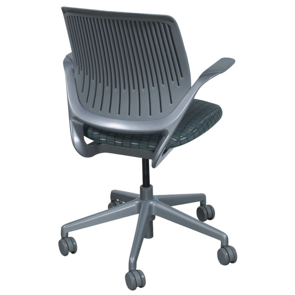 steelcase cobi used gray mesh conference chair blue pattern