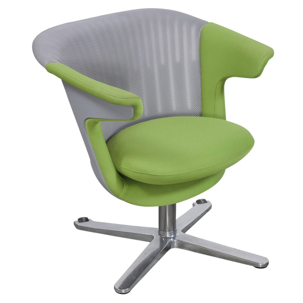 Steelcase I2i Used Gray Mesh Lounge Chair Green Seat