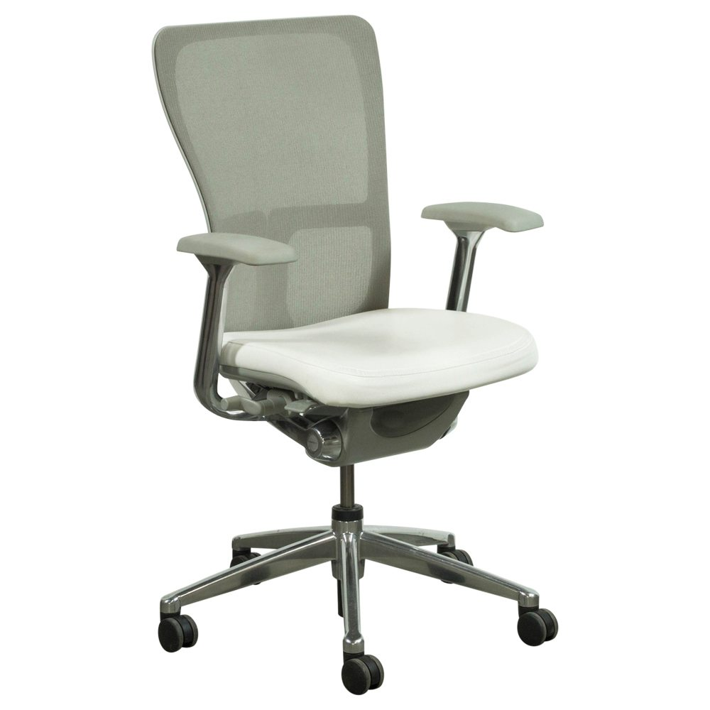 Haworth Zody Mesh Back Used Leather Task Chair White And
