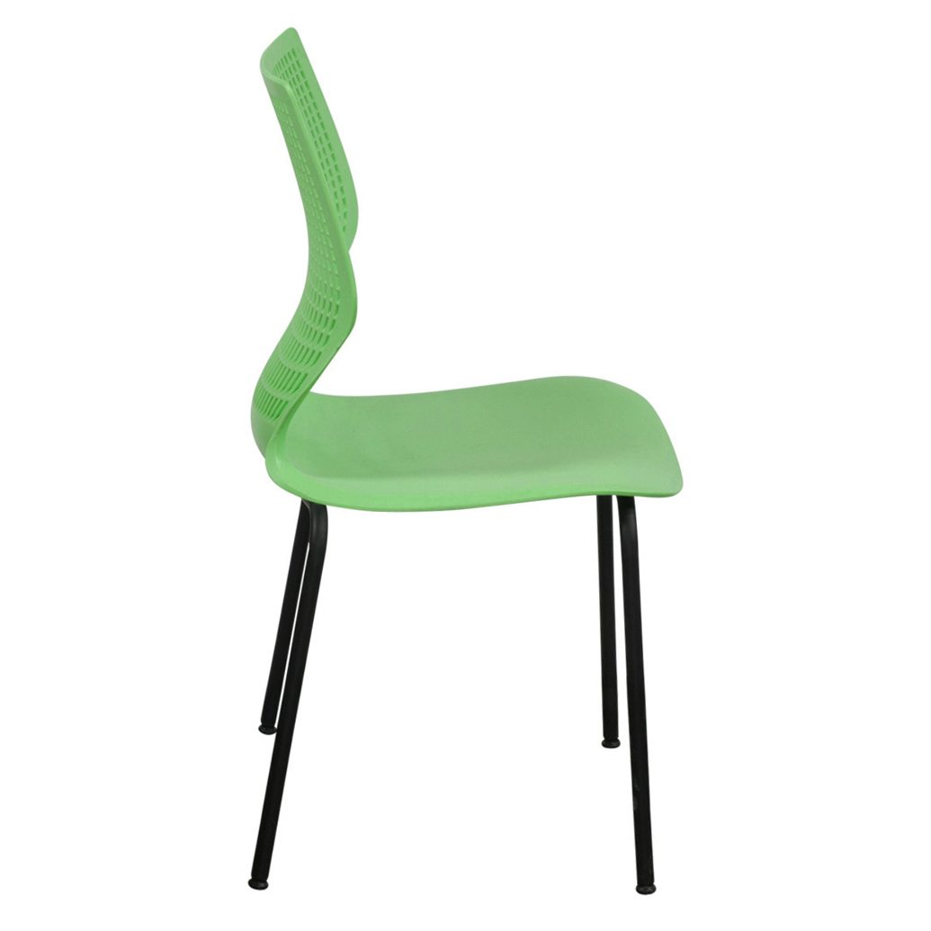 Used Metal Frame Plastic Stack Chair Green National