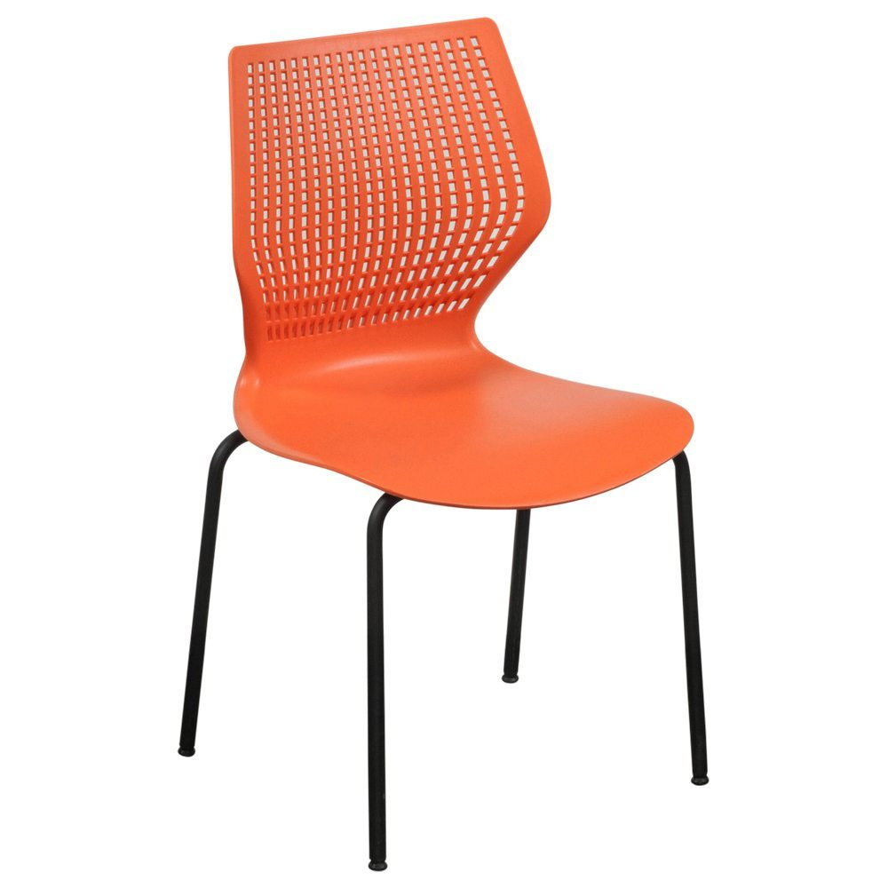 Used Metal Frame Plastic Stack Chair Orange National