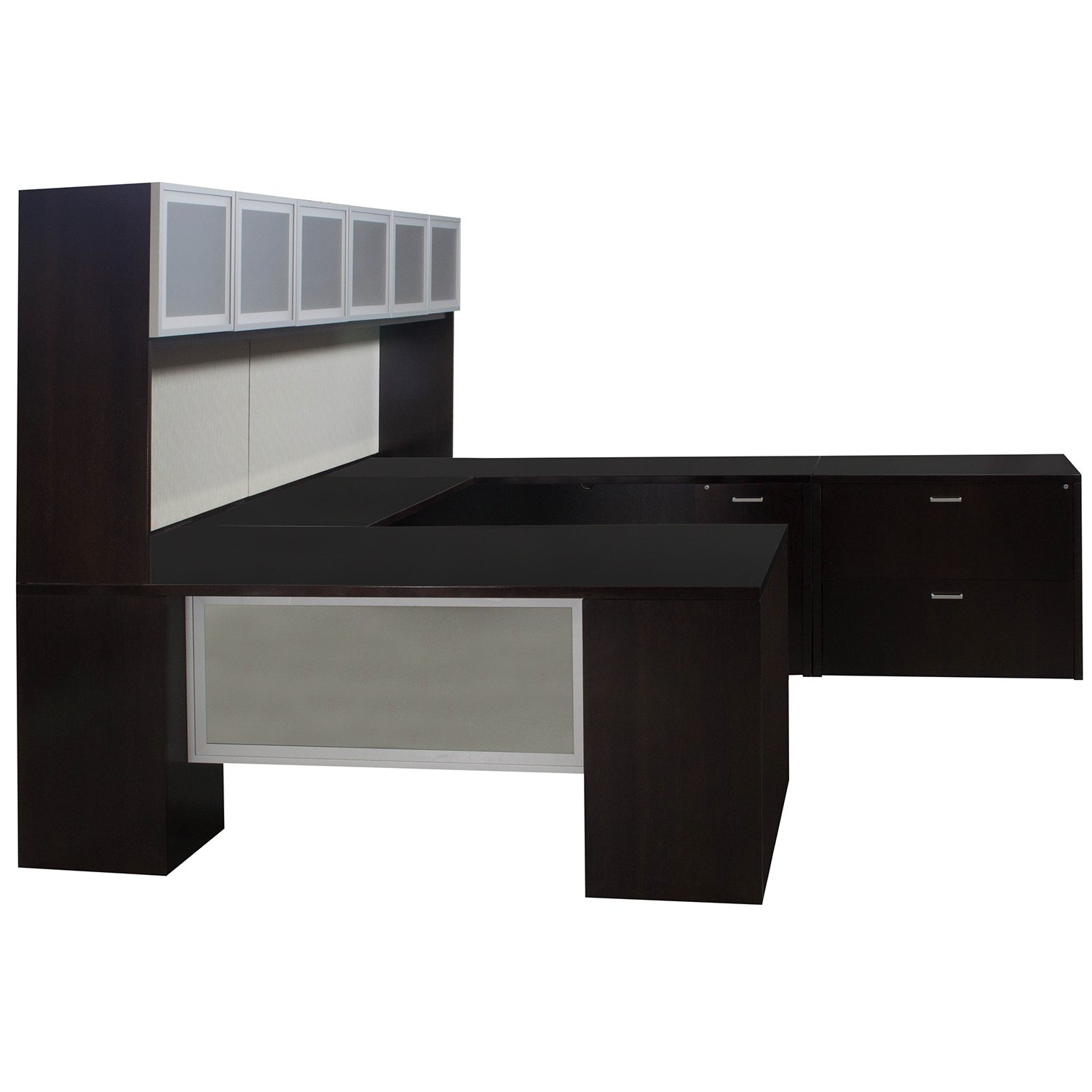Indiana Furniture Used Veneer U Shape Right Return Desk Espresso