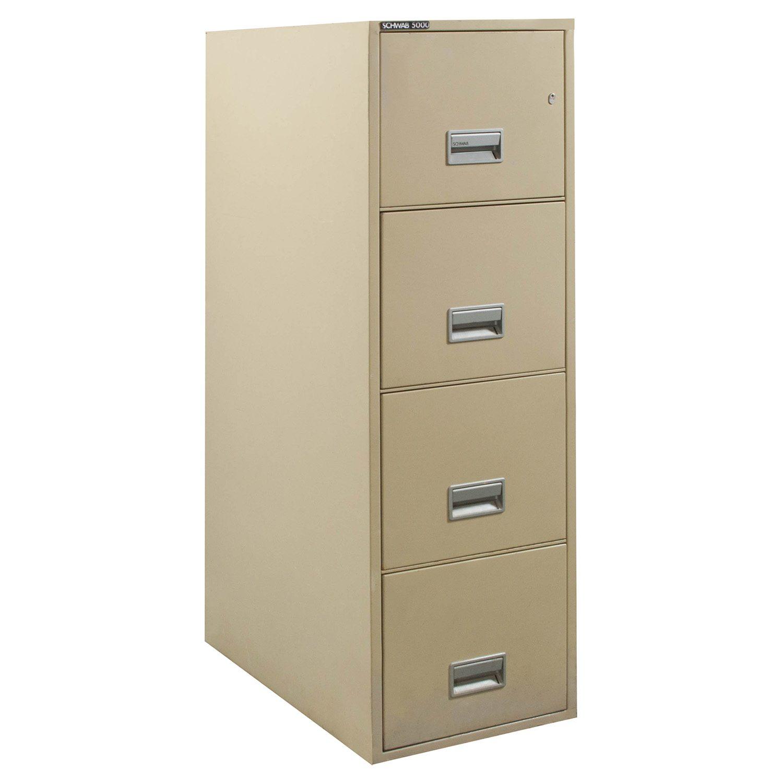 Schwab 5000 Used 4d Letter Sized Fire File Cabinet Tan