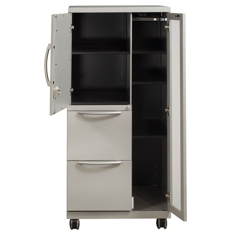 Haworth Premise Used Left Wardrobe Storage Cabinet Silver