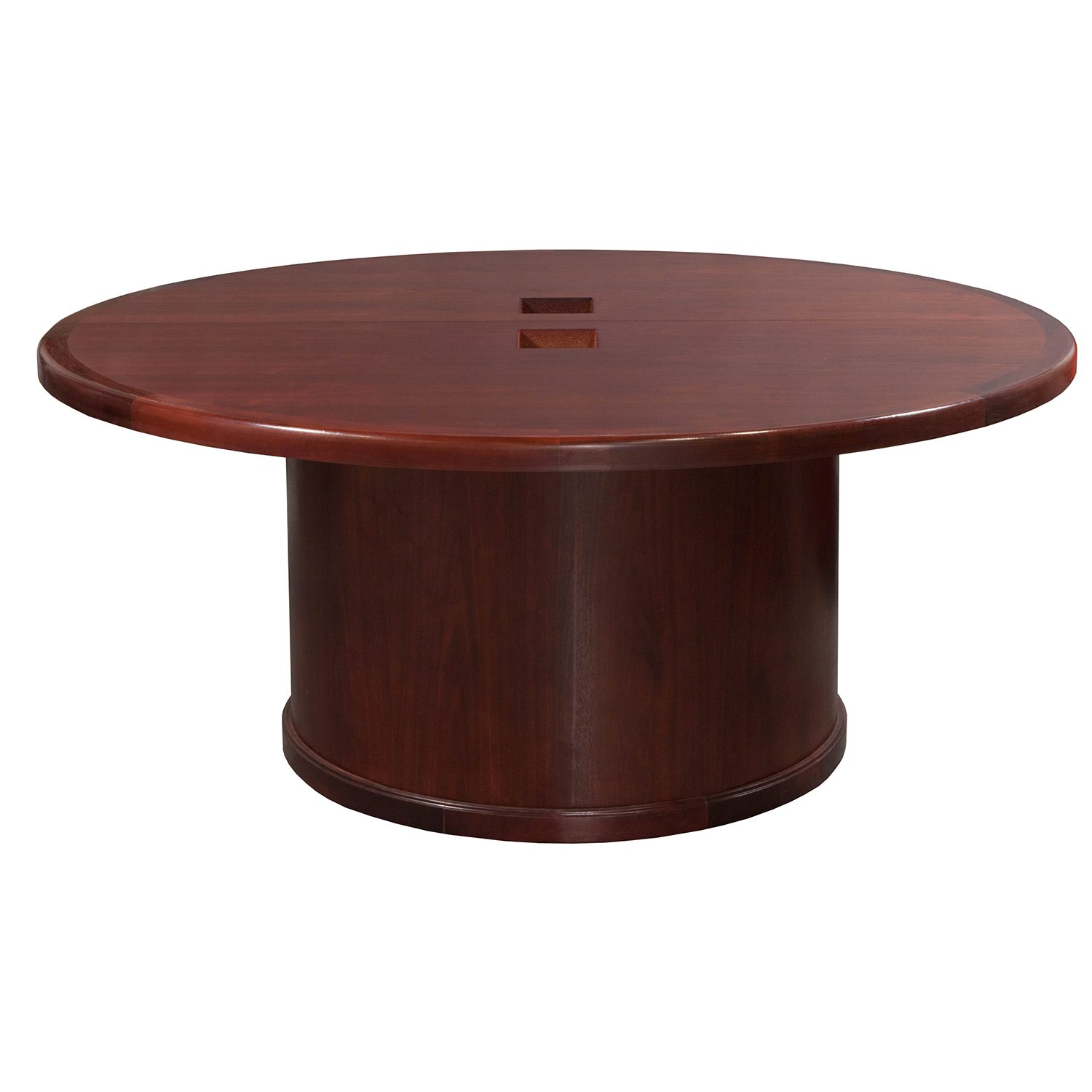 Steelcase Used 66 Inch Veneer Round Conference Table, Mahogany