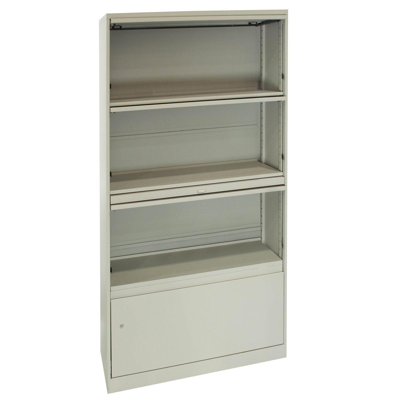 steelcase used 4 door 30 inch open shelf storage  off white