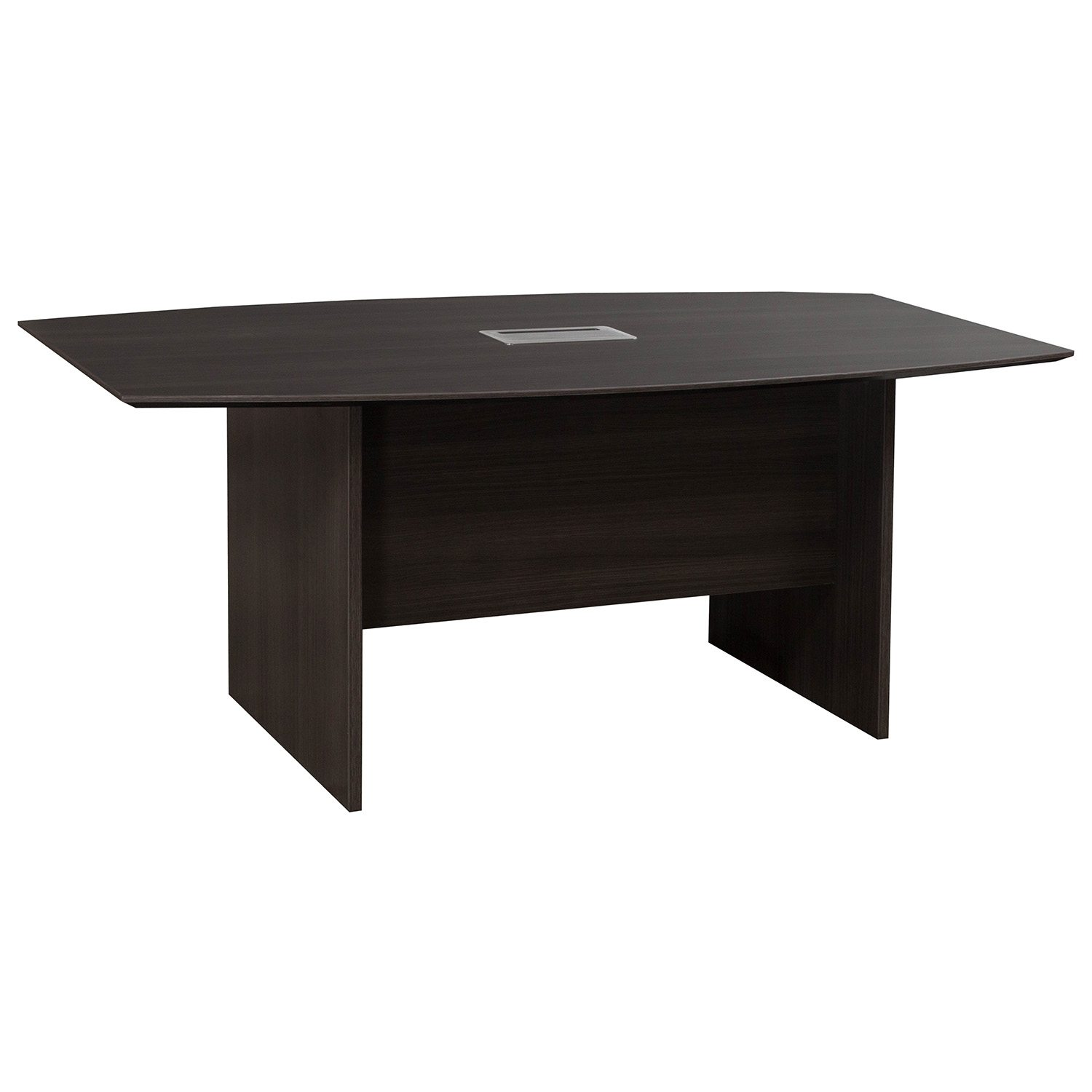 Catalina Laminate Ft Boat Shaped Conference Table W Grommet Gray - Conference room table grommets