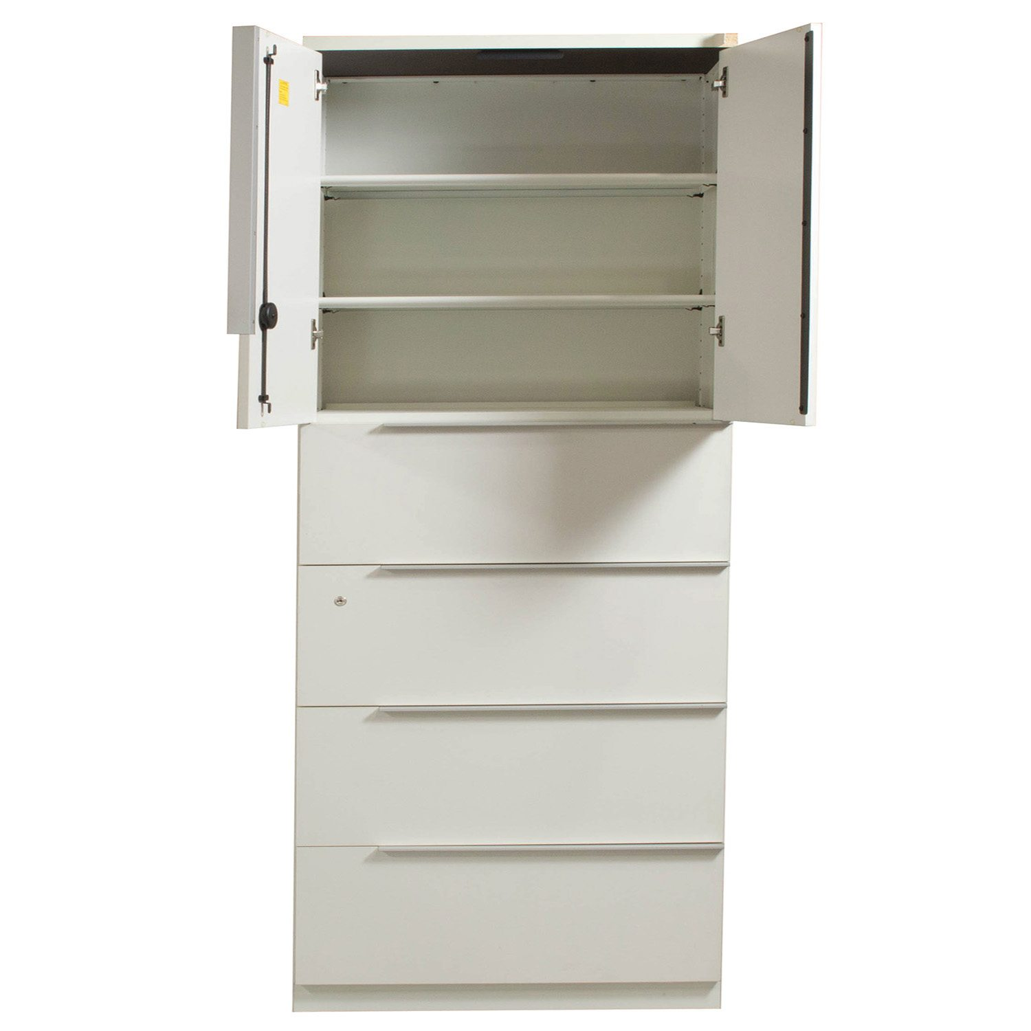 steelcase 4 drawer used lateral file with overfile storage 36 inch  white