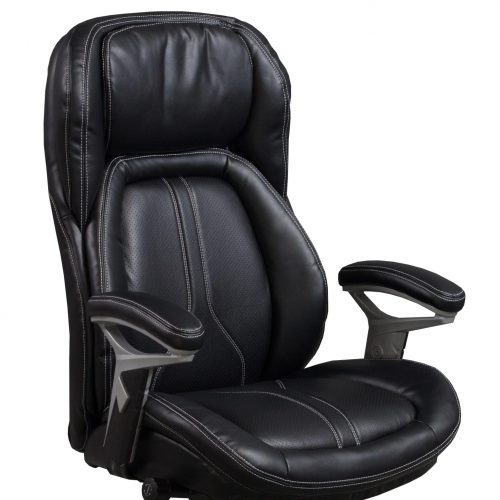 goSIT CS-2083E Black Leather Executive Task Chair - Arm