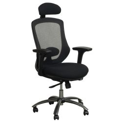 Spark by goSIT Executive Mesh Chair with Headrest Black Front View