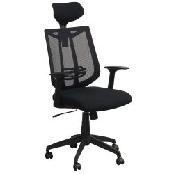 Liberty by goSIT Modern Mesh Chair with Headrest Black Front View
