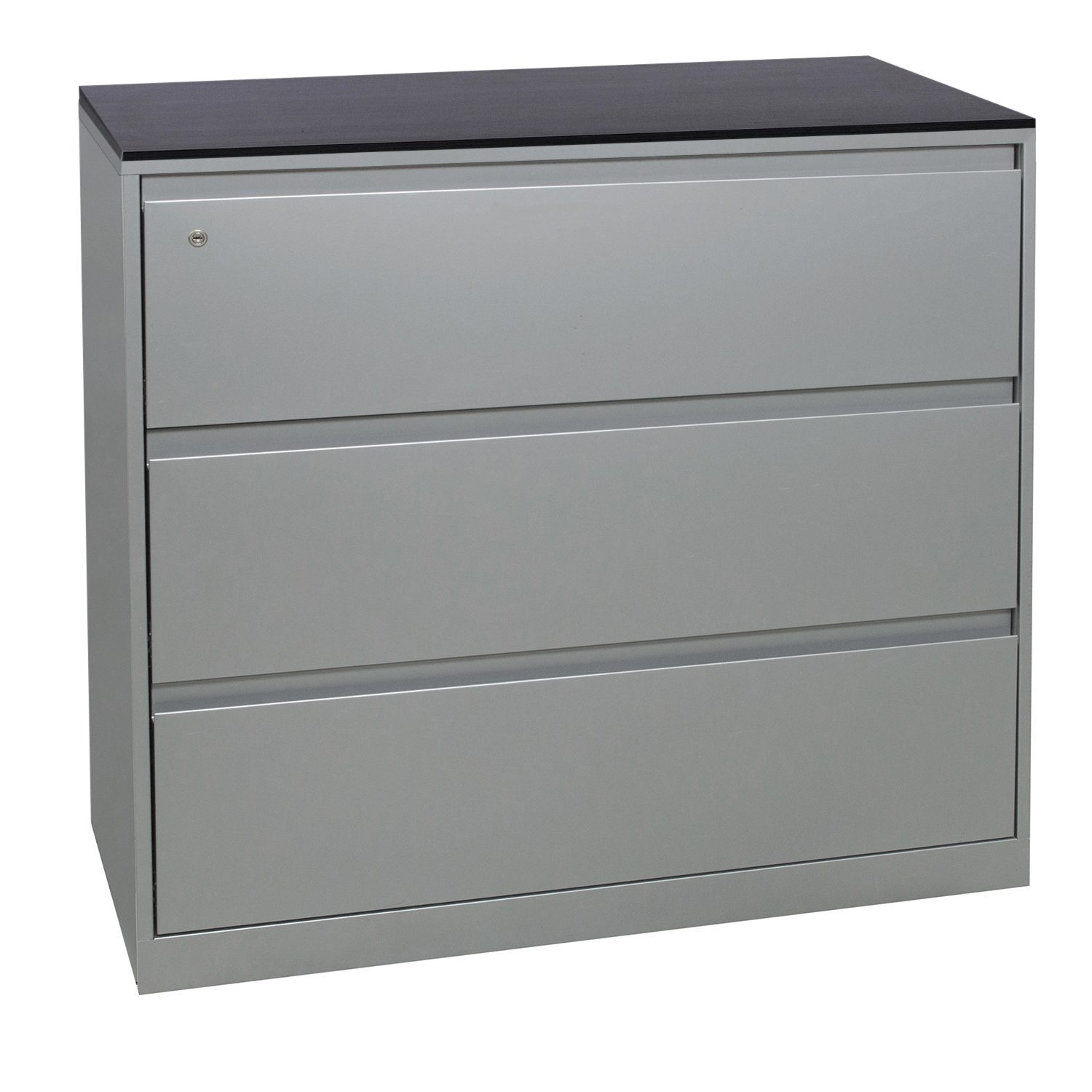 steelcase 900 series used 3 drawer 42 in lateral file w   gray laminate top  platinum