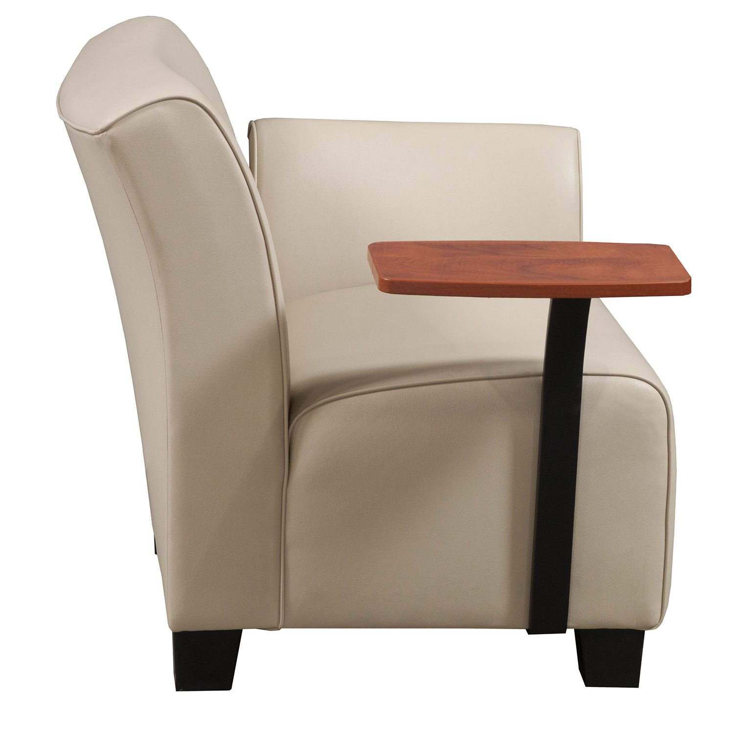 Steelcase Jenny Right Tablet Arm Lounge Chair In Tan PU Leather   Side