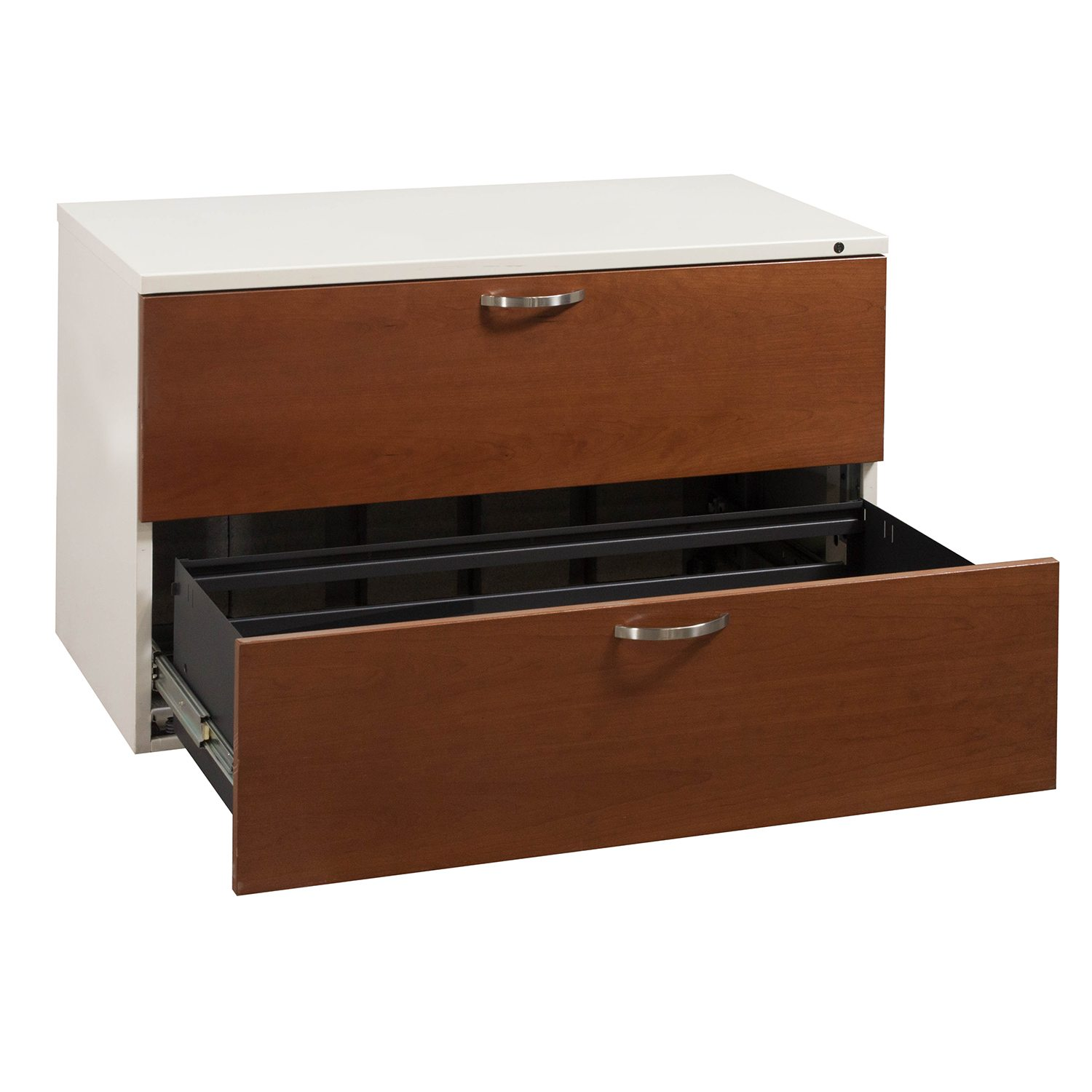 Herman Miller 2 Drawer Cherry Lateral File   Drawer Open