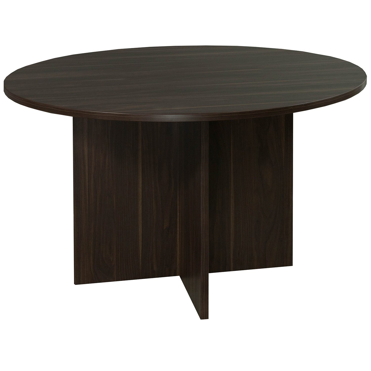 Denmark Round Laminate Meeting Table No Grommet American Walnut - 48 inch round conference table