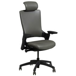Admiral by goSIT Executive Leather Ergo Chair with Headrest Gray Front View