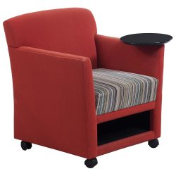 Martin Brattrud Red/ Orange Reception Chair with Left Tablet - Front