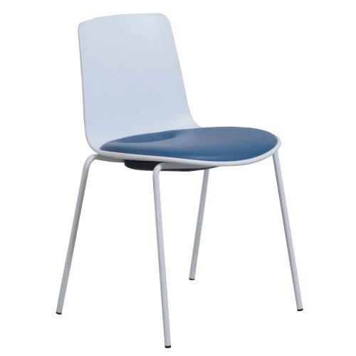 Steelcase Enea Lottus Blue Leather Stack Chair - Front
