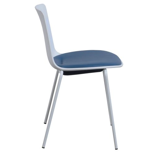 Steelcase Enea Lottus Blue Leather Stack Chair - Side