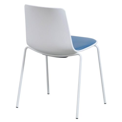 Steelcase Enea Lottus Blue Leather Stack Chair - Back