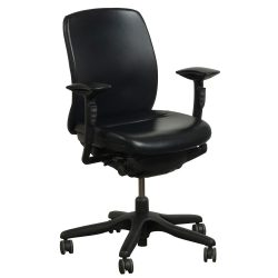 Teknion Amicus PU Leather Task Chair in Black - Front