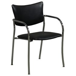 Versteel Companion Stack Chair in Black Leather - Front
