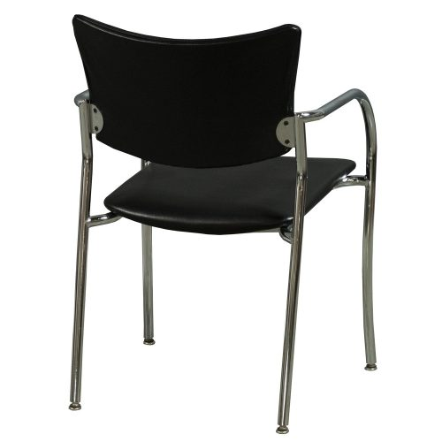 Versteel Companion Stack Chair in Black Leather - Back