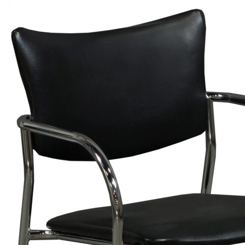 Versteel Companion Stack Chair in Black Leather - Arm