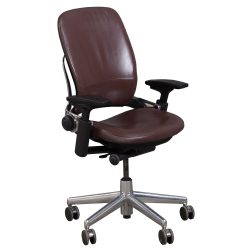 Steelcase Leap V2 Leather Task Chair in Mahogany