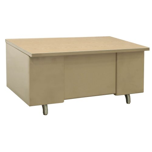 Bentson 34x60 Metal Desk in Putty and Oak - Front