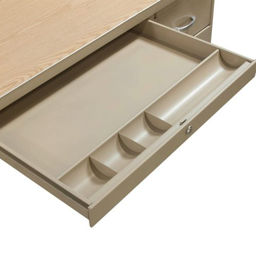 Bentson 34x60 Metal Desk in Putty and Oak - Center Drawer