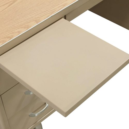 Bentson 34x60 Metal Desk in Putty and Oak - Tray