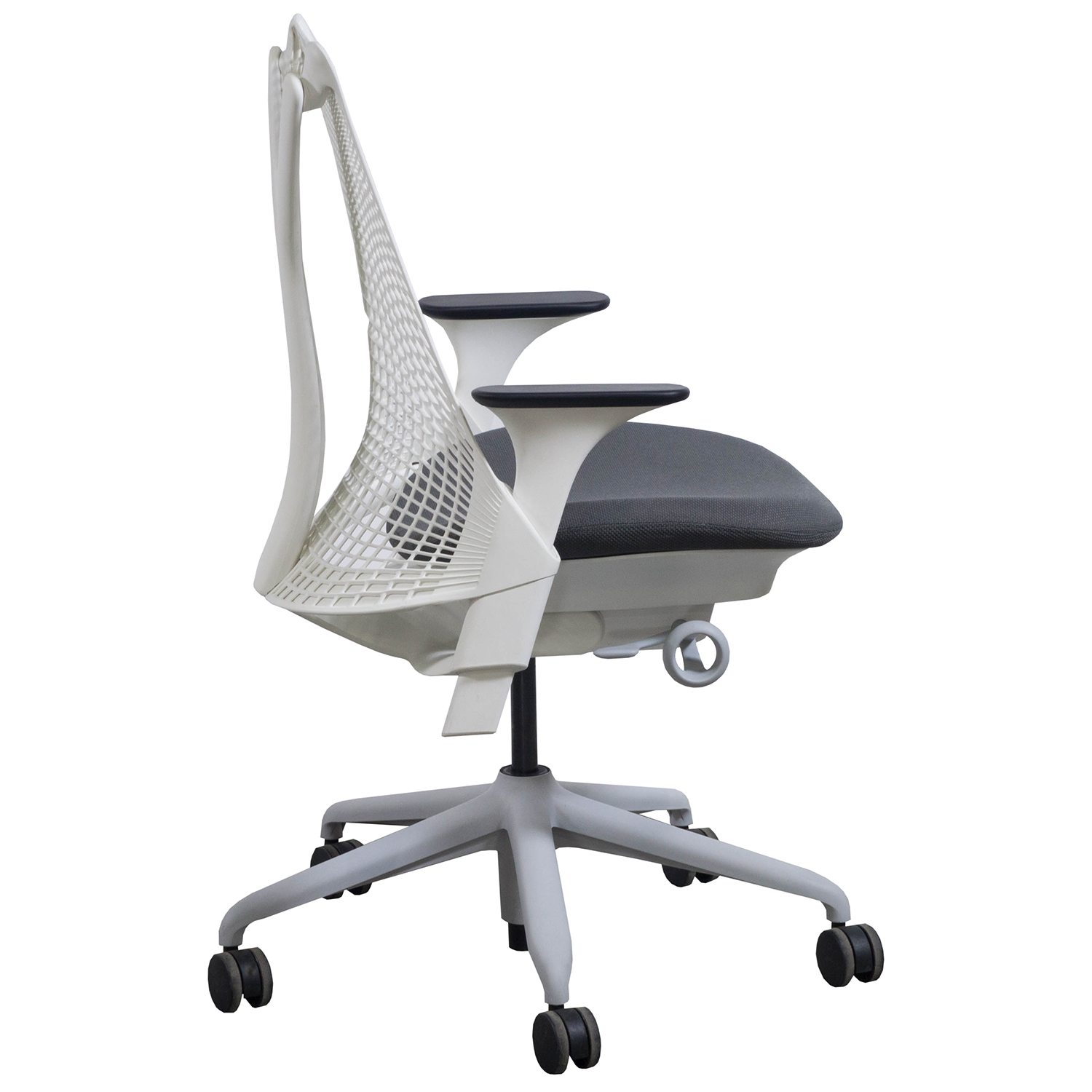 herman miller sayl used white back task chair gray seat national
