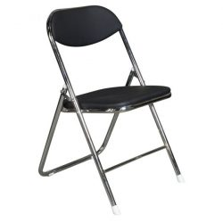 goSIT New Cushioned Chrome Folding Chair Black Front View
