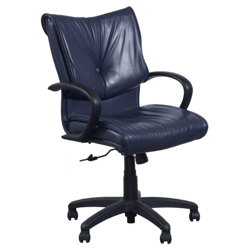 SitOnIt Glove Blue Leather Conference Chair