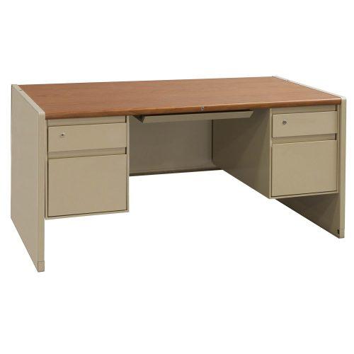 Steelcase 30x60 Metal Double Pedestal Desk in Oak and Putty