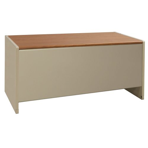 Steelcase 30x60 Metal Double Pedestal Desk in Oak and Putty - Front