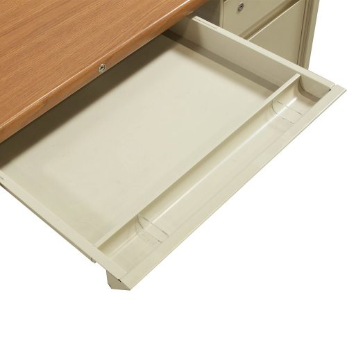 Steelcase 30x60 Metal Double Pedestal Desk in Oak and Putty - Center Drawer
